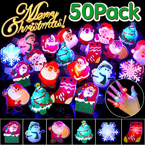 Christmas LED Light Up Ring for Kids Adults Flash Finger Ring Birthday Party Favors Blinking Soft Toy Rubber Decorations Assorted Styles Best Gift 50 Pack
