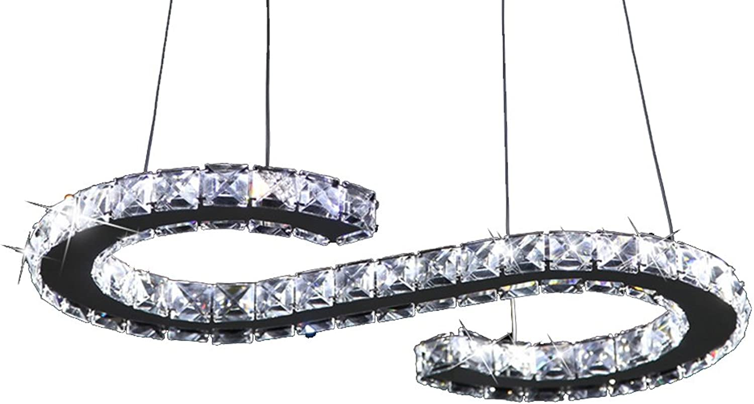 Crystal Chandeliers, Modern LED Stainless Steel Crystal Chandelier Adjustable Pendant Lighting Dining Room Chandelier