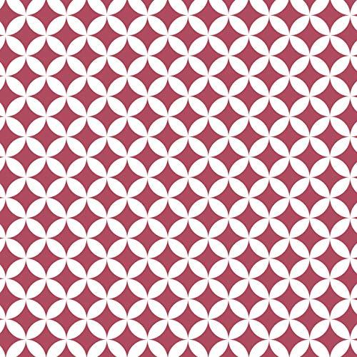 Venilia Next Page Klebefolie Monica Berry Geometrisches Motiv, Retro-Muster, Dekofolie, Möbelfolie, Tapete, Selbstklebende Folie, PVC, ohne Phthalate, Beere, 45cm x 1,5m, Stärke 0,095mm, 54765