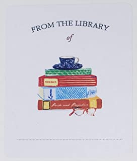 """Bookplates with Jane Austen Book Stack. Set of 10. 3"""" H x 2 1/2"""" W"""
