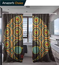 vanfanhome Decorative Home Fashion Linen Sheer Curtains, Head Woman with Strange Pattern On Her Hair Vector Printing, 1 Pair Natural Open Weave Linen Curtains Sheer, 52 x 96 Inch/Panel
