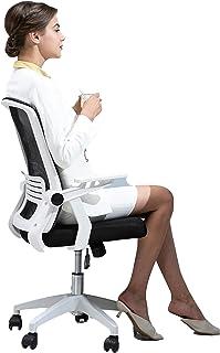 Silla de escritorio con ruedas, respaldo de malla transpirable, mejora la postura ahora y el dolor de cuello, ángulo de inclinación ajustable y brazos abatibles Silla de escritorio ejecutiva para co
