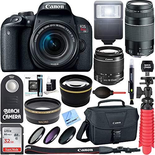 Canon EOS Rebel T7i DSLR Camera (1894C002) + 18-55mm IS STM & 75-300mm III Lens Kit + Accessory Bundle 32GB SDHC Memory + DSLR Photo Bag + Wide Angle Lens + 2x Telephoto Lens + Flash + Remote + Tripod