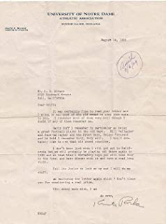 Knute Rockne Notre Dame Signed Letter 8/14/1929 Auto 9 LOA AH41177 - PSA/DNA Certified - College Cut Signatures