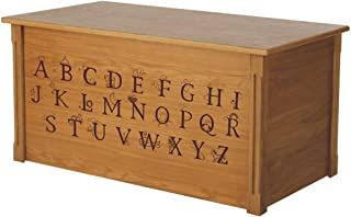 Wood Toy Box, Large ABC Toy Chest in Oak, Thematic Font, Custom Options (Standard Base)