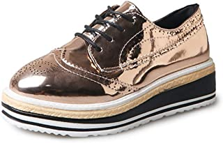 Judy Bacon Women's Oxfords Shoes Round Toe Perforated Lace-up Flat Wegde Platform Brogues Wingtip Oxford Shoes Gold