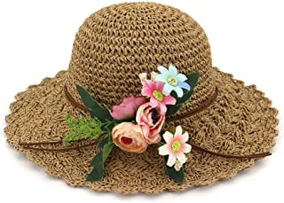 Summer hat Fashion Summer Women Sun Hat Lady Flowered Sweet Casual Sun Hat Beach Travel Dome Graceful Hat hat (Color : Coffee, Size : 56-58CM)