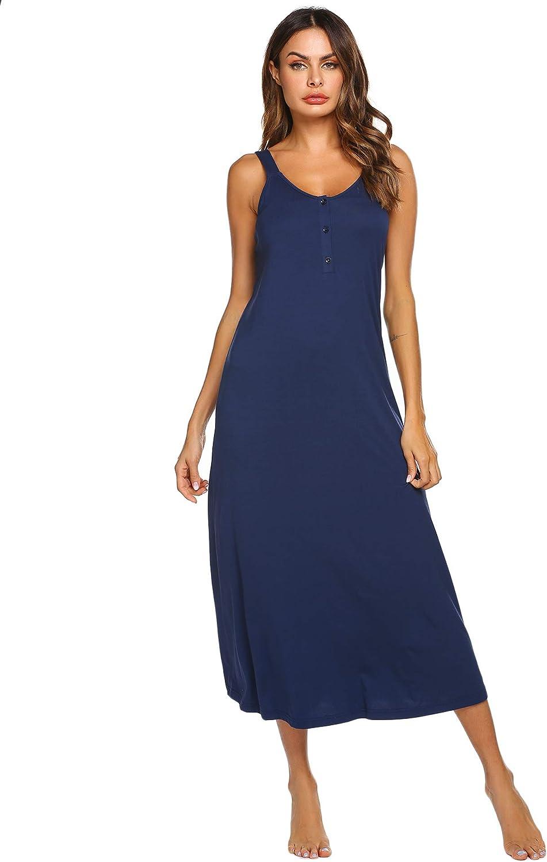 Ekouaer Women's Sleeveless Long Nightgown V-Neck Full Length Soft Sleep Dress
