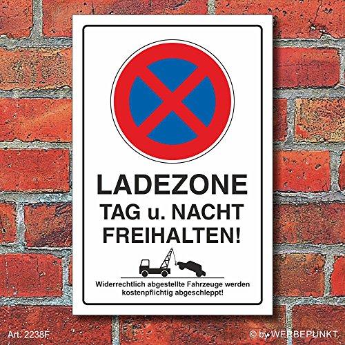 (2238) Schild Parkverbot, Halteverbot, Ladezone bitte freihalten, 3 mm Alu, Hochkant (450 x 300 mm)