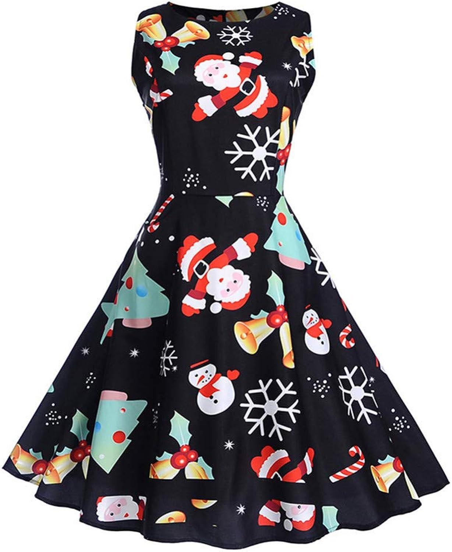 WDBXN Christmas Santa Claus Print Vintage Dress Women Sleeveless O-Neck A-Line Party Dresses Swing Pin Up Autumn Dress Black