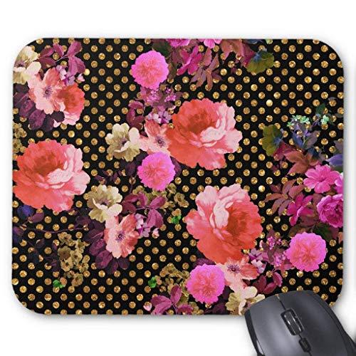 Accesorios de ordenador anti-fricción pulsera elegante rosa vintage flores negro oro lunares ratón pad 18x22