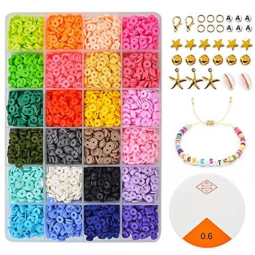 5400 piezas para hacer pulseras, cuentas de arcilla polimérica para hacer joyas cuentas para collares, kit de manualidades con colgante y anillos de salto para niños adultos