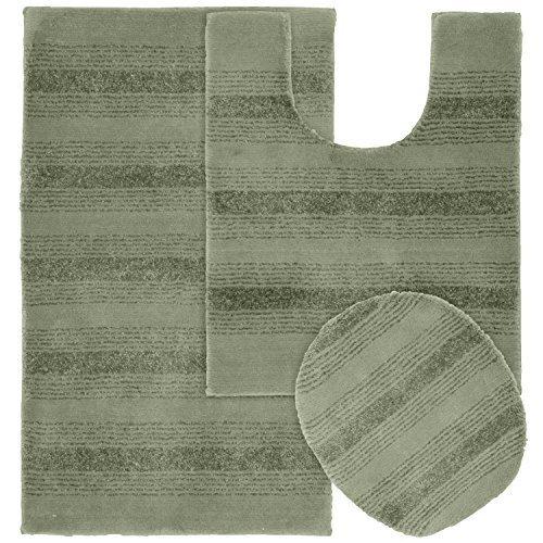 Garland Rug 3-Piece Essence Nylon Washable Bathroom Rug Set, Deep Fern by Garland Sales, Inc. - Dropship