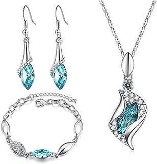 INTVN Conjunto de Joyas, Moda Collar Colgante Pendientes Pulsera Cristales Joyería Accesorios Mujer Niña