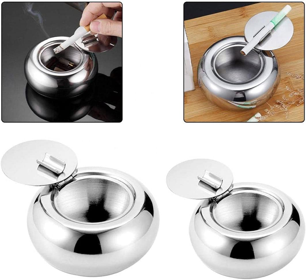 Same day shipping EElabper Stainless Steel Ashtray Portable Windproof Tablet Round Max 73% OFF