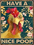 Graman Funny Cock tin Sign for Bathroom Have a Nice Poop tin Sign for Toilet Room Decoration,Retro Style Wall Art Decoration Tin Sign 8X12 inch