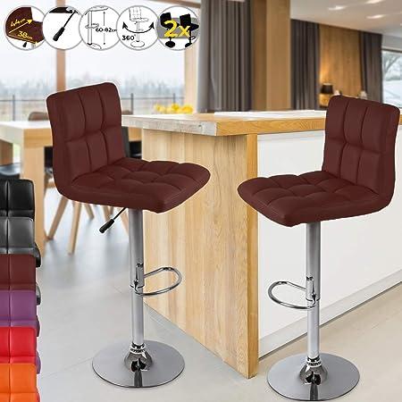 tabouret de bar pivotant siege reglable en hauteur 60 82 cm avec dossier et repose pied en simili cuir couleur et set au choix chaise haute