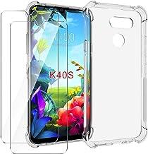 HYMY Funda para LG K40S Smartphone + 2 x Cristal Templado - Transparente Tapa TPU Silicona [Refuerzo de Cuatro Esquinas, Absorción de Golpes] Caso Carcasa para LG K40S (6.1