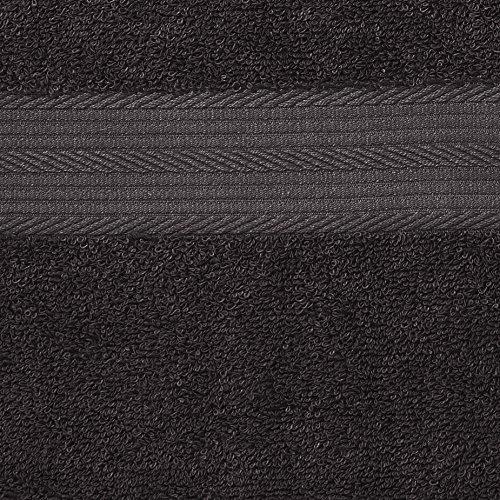 AmazonBasics - Juego de toallas (colores resistentes, 2 toallas de baño), color negro