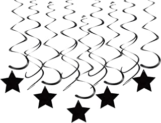 Black Star Hanging Swirl Decorations for Ceiling, Pack of 30