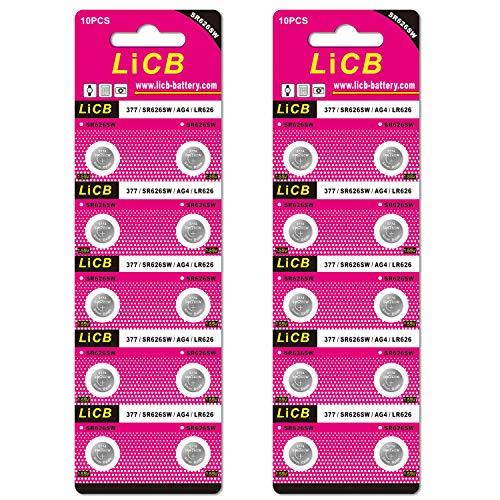 LiCB 20個 SR626SW ボタン電池 酸化銀 時計用【377 、LR66、LR626、AG4、377A相当品】