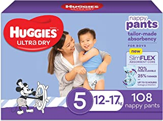 Huggies Ultra Dry Nappy Pants Boy Size 5 (12-17kg) 108 count