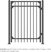 Black Steel Fence Gate Cortina Style Flat End Pickets - 4ft W x 5ft H - DIY Installation Kit, for Outdoor, Yard, Patio, Entry Way, on Soil or Concrete, 3-Rail Mental Gate by XCEL