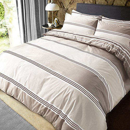 Sleepdown Banded Stripe Natural Reversible Soft Duvet Cover Quilt Bedding Set With Pillowcases - Double (200cm x 200cm)