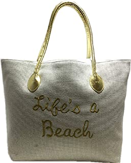 "Eye Catching Beach Tote Bag White Reflective Life's a Beach Full Top Zipper Reflective Gold Handle Inside Pocket 24""x15""X7"" TS-27"