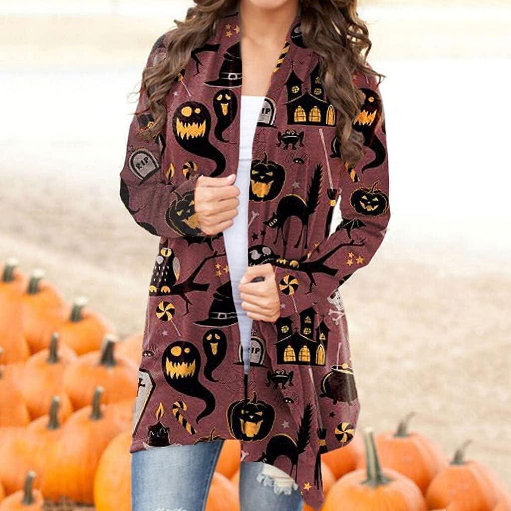 Womens Long Sleeve Tops,Womens Halloween Cardigan Long Sleeve Pumpkin Ghost Black Cat Graphic Outwear Coat