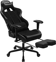 SONGMICS Gamingstoel met voetensteun, 150 kg, bureaustoel, lendenkussen, hoofdkussen, ergonomische rugleuning, staal, kunstleer, ademend meshweefsel, zwart RCG52BK