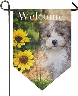 Bienvenido Garden Yard Flag Havanese Dog Puppy Sunflower 12x18 Inch Poliéster de doble cara al aire libre