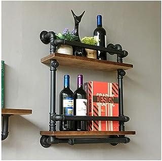 Dxbqm Étagère Murale pour Organisateur de Stockage, étagère à vin Industrielle rétro en Bois Massif, casier à vin Mural Mu...