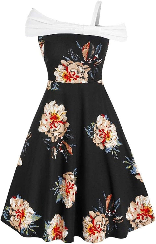 Oiumov Graduation Dresses for Women 2021 Off Shoulder Sling Dress With Stitching Flower Print Summer Dresses for Women
