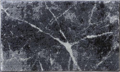 Erwin Müller Badematte, Badteppich, Badvorleger rutschhemmend Marmor grau Größe 50x80 cm - sehr saugfähig, schnelltrocknend, für Fußbodenheizung geeignet (weitere Größen)
