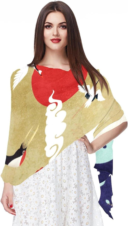 Scarfs for Women Lightweight Print Floral Pattern Scarf Shawl Fashion Scarves Sunscreen Shawls, Red Crownedcrane