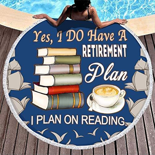 ReadING Books, toalla de playa, suave, redonda, para yoga, meditación, picnic, 150 cm, para decoración de interior, tapete de piso, mesa de café, manta, mantel, toalla de baño, yoga, color blanco