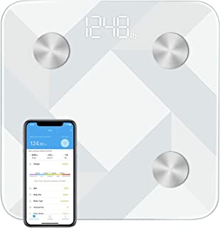 Báscula Grasa Corporal,Mpow Bluetooth Báscula Baño,Báscula Inteligente de Baño Digital,13 Indicadores de Composición,Monitor de Salud con LED Pantalla Grande,Bascula para iOS y Android