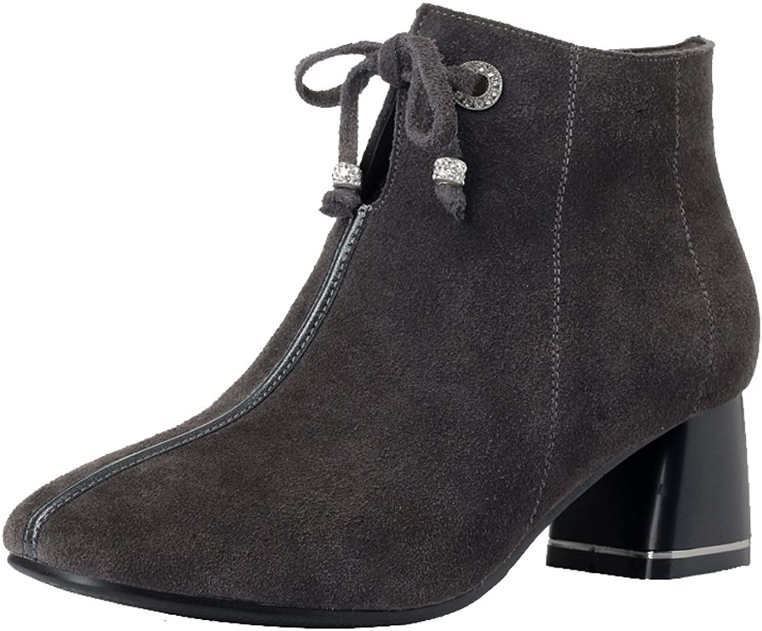 Dethan Women's Suede Genuine Leather Round Toe Chelsea Boot Chunky Middle Heel Ankle Bootie