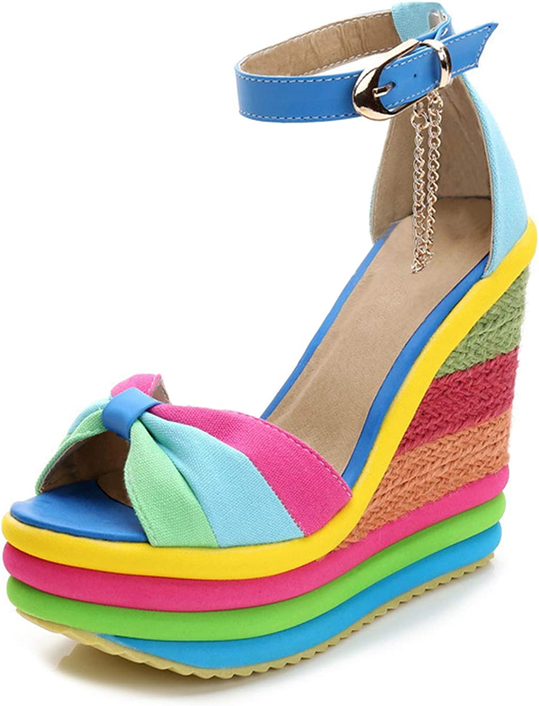 Mashiaoyi Women's Peep-Toe color-Contrasted Buckle Tassel Wedge Sandals