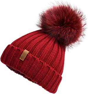 Women Winter Knitted Beanie Hat with Fur Pom Bobble Hat Skull Beanie for Women