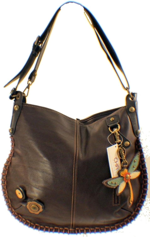 Chala Purse Handbag Leather Hobo Cross Body Congreenible Dragonfly Dark Brown