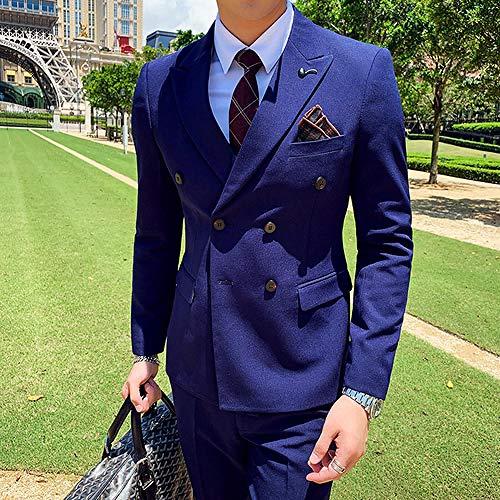 MarXixi Zweireihiger Anzug Herren dreiteiliger Hochzeits-Smoking Bankettanzug Herrenanzugjacke (Jackenhosenweste) -Blau_L_für_54-60_kg