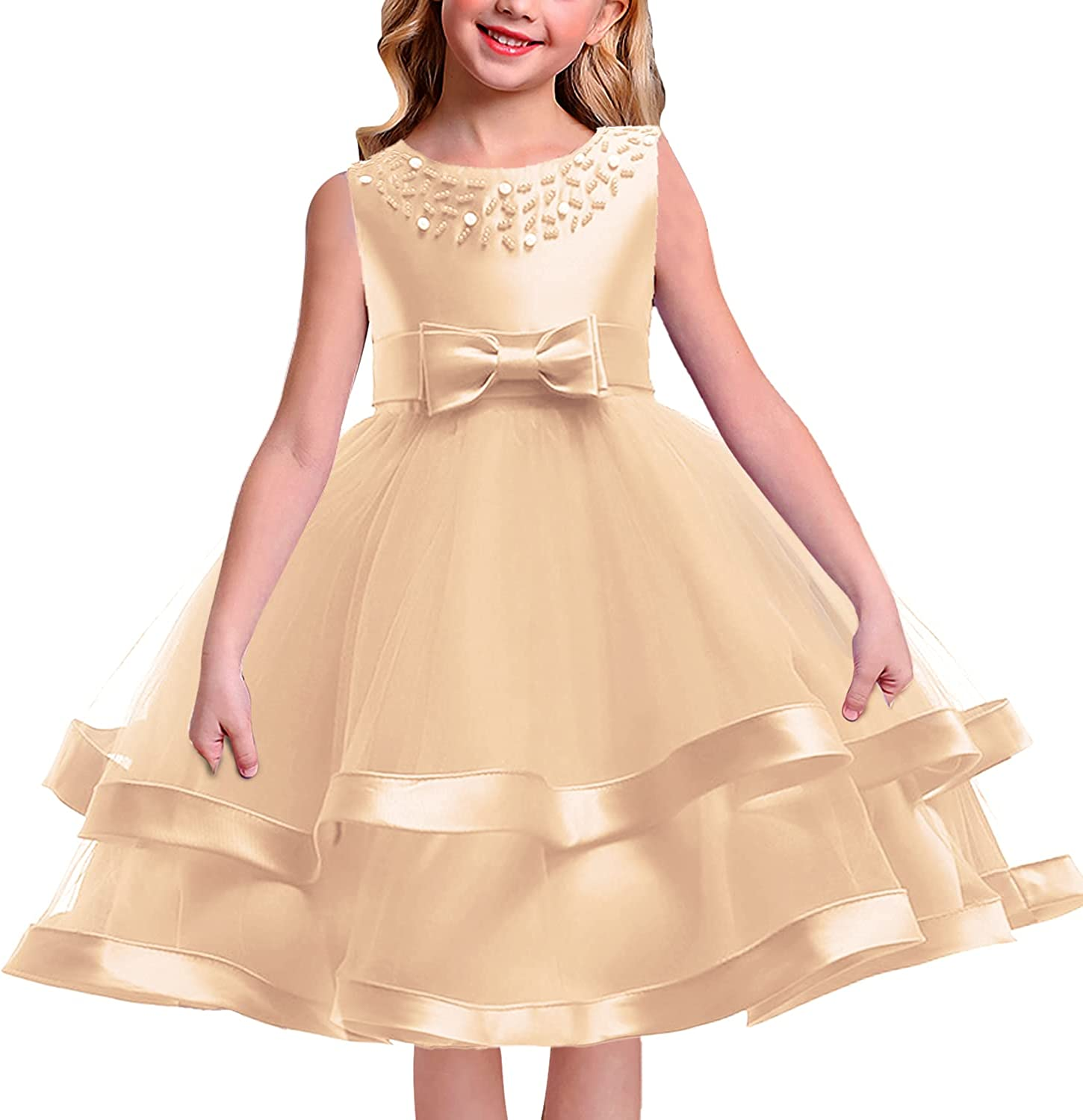 Flower Girls Lace Beads Tulle Sleeveless Dress Wedding Party with Bow Belt Gowns