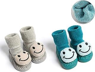 Wazi, Wazi Esponja Inferior niño Suave Piso Calcetines del bebé de Navidad Caliente Terry Calcetines (Color : Combination 04, tamaño : Sole Length 12cm)