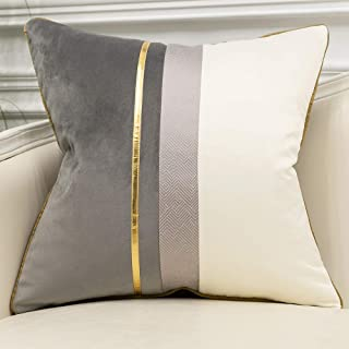 Avigers 18 x 18 Inches Gray White Gold Leather Striped Patchwork Velvet Cushion Case Luxury Modern Throw Pillow Cover Deco...
