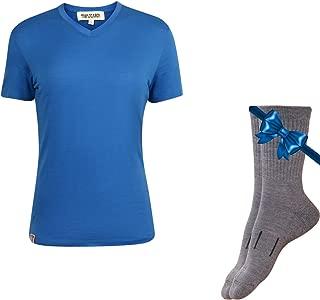 100% NZ Organic Merino Wool Lightweight Women's T-Shirt + Merino Wool Hiking Socks Bundle   Short Sleeve Crew Tee