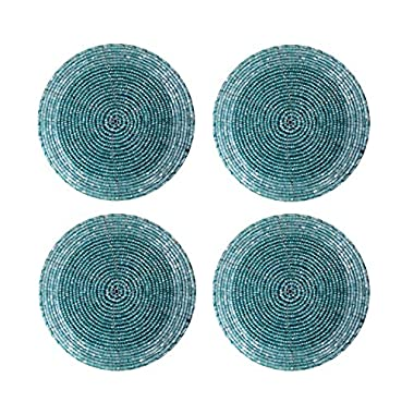 Handmade Turquoise Blue Beaded Round Set of 4 Placemats Tea Cup Coaster Wedding Gift Indian Home Furnishing