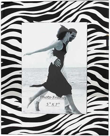 Amazon Com Party Plus 4 Less Glass Picture Frame Zebra Black With Mirror 5x7