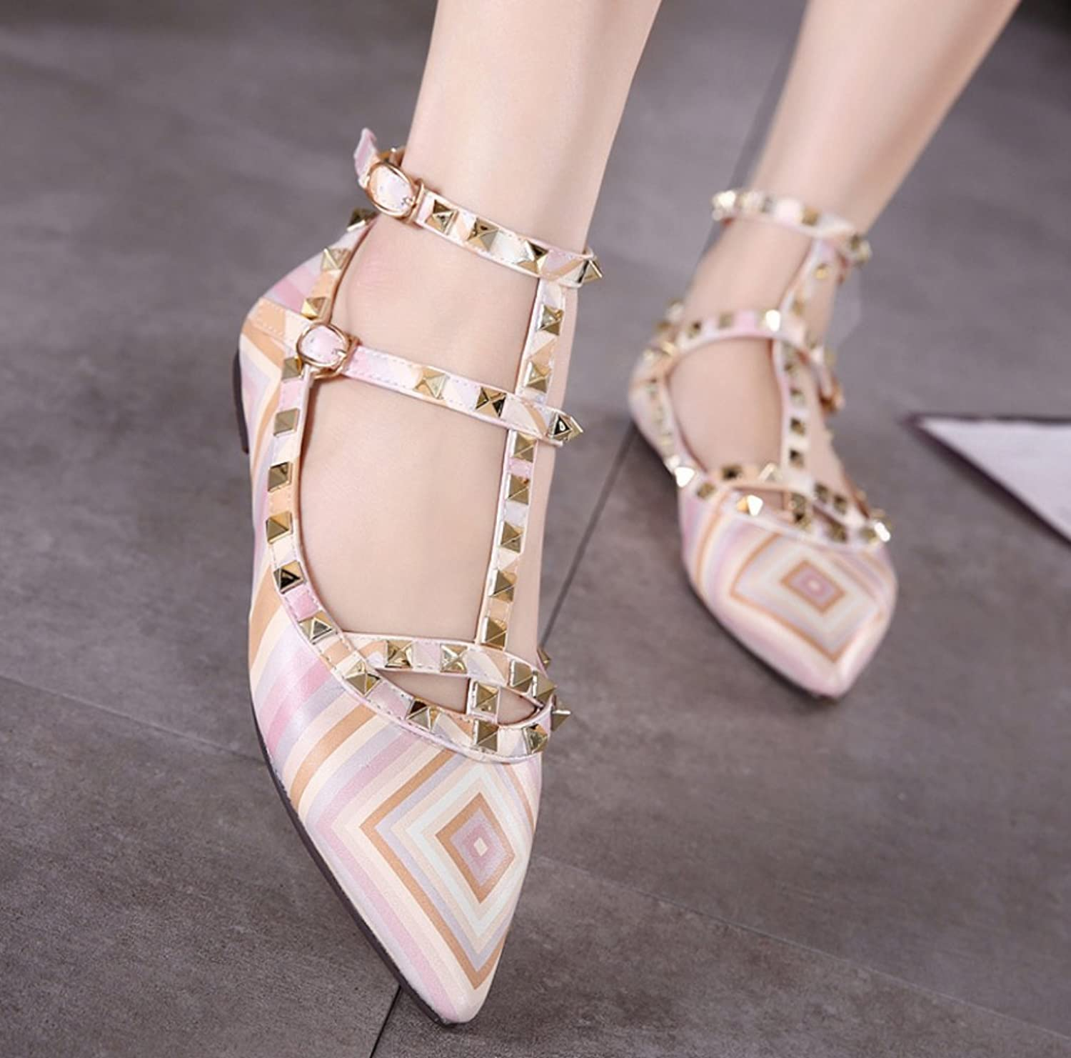 Women's Rivet Hollow Pointed Toe Flat Sandals shoes